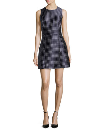Dot Jacquard Mini Dress, Indigo/White