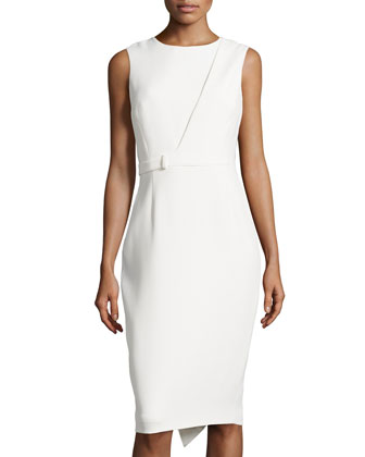 Sleeveless Cascade Zip Dress, Ivory