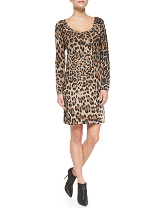 Leopard-Print Cashmere Sheath Dress