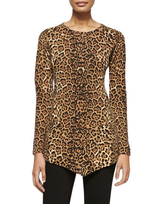 Leopard-Print Triangle Cashmere Top