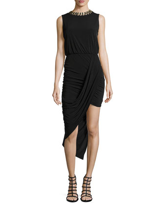 Asymmetric Draped Jersey Dress W/ Collar Necklace