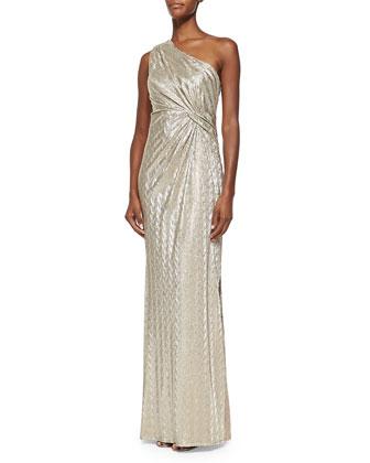 One-Shoulder Textured Metallic Gown