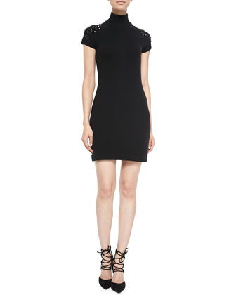 Cashmere Beaded-Shoulder Turtleneck Dress