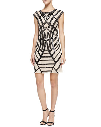 Cap-Sleeve Beaded-Pattern Cocktail Dress
