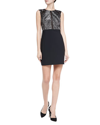 Sleeveless Metallic-Bodice Cocktail Dress
