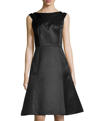 Cutout-Back A-Line Dress, Black