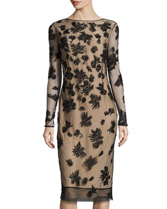 Beaded Tulle V-Back Dress, Black