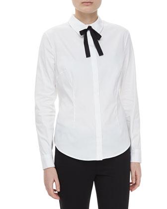 Long-Sleeve Bow Tie Shirt
