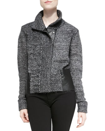 Marled Leather-Trim Sweater Jacket