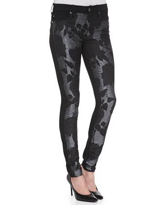 Floral-Pattern/Metallic Skinny Jeans