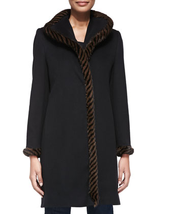 Spiral Mink Fur-Trim Wool Coat