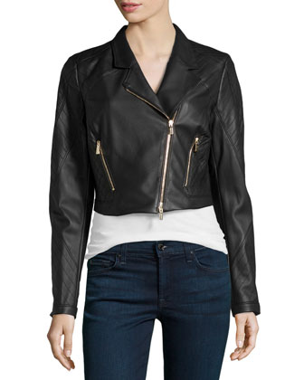 Cropped Leather Moto Jacket, Black