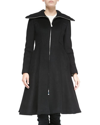 Vivienne Fit-and-Flare Zip Coat