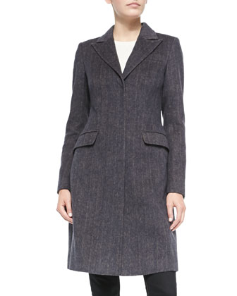 Tailored Herringbone Coat w/Faux-Fur Collar