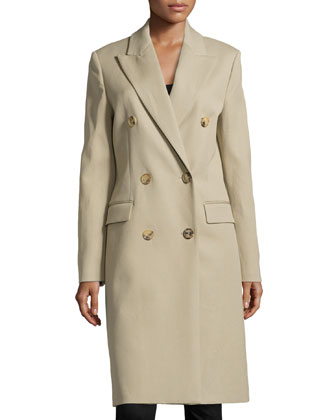 Gabardine Chesterfield Double-Breasted Long Coat