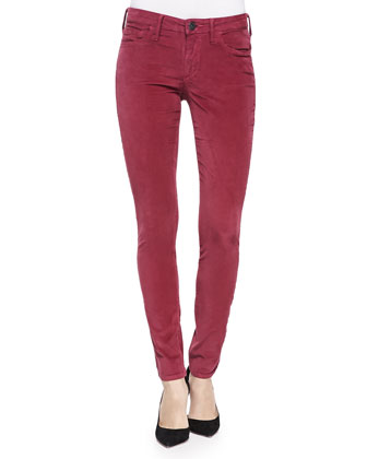 Halle Mid-Rise Skinny Cords, Claret