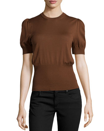 Short-Puff-Sleeve Merino Top, Nutmeg