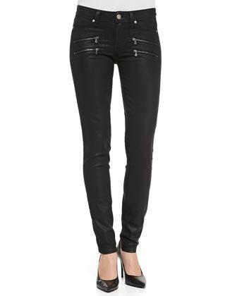 Edgemont Ultra-Skinny Zipper Jeans, Black Silk
