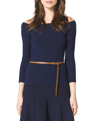 Ribbed Off-The-Shoulder Top, Indigo