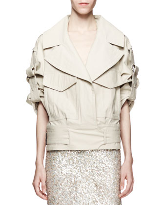 Cropped Cotton-Stretch Utility Trench Jacket, Beige