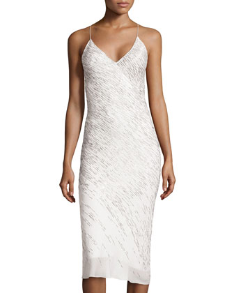 Silk Embroidered Slip Dress, Ivory