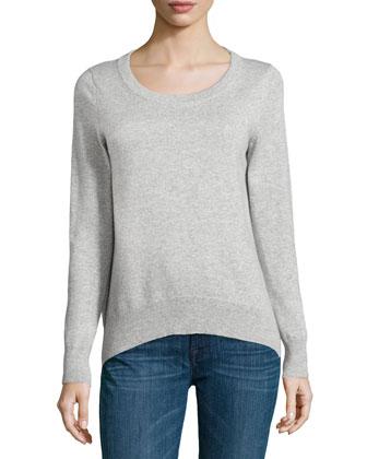 Arch-Hem Knit Sweater, Pearl Melange