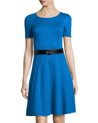 Ponte Short-Sleeve Dress with Belt