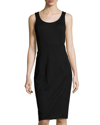 Corset-Back Ponte Dress, Black