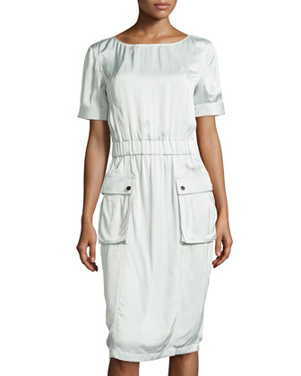 Short-Sleeve Cargo Dress, Pale Sage
