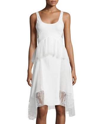 Tulle/Lace Peplum Tank Dress, Ivory