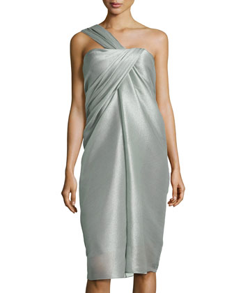One-Shoulder Organza Drape Dress, Dark Sage