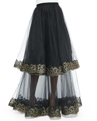 Adore Sleeveless Lace Top & Bouquet Tulle Organza Skirt