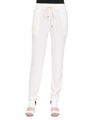 Drawstring Pants with Zip Pockets