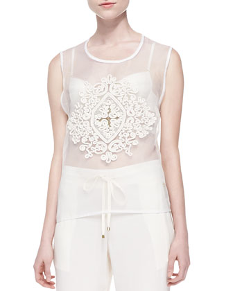 Formal Simplicity Sleeveless Embroidered-Front Tee