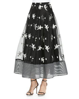 Hamilton V-Neck Cropped Top & Floral Printed Organza Skirt