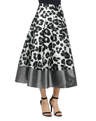 Wisteria Leopard-Print Pleated Midi Skirt