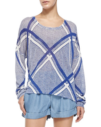 A Vibrant Community Printed Scoop-Neck Sweater & The Night Pleated/Cuffed ...
