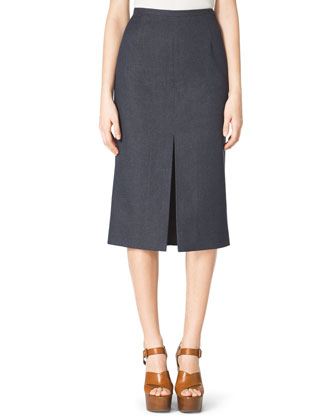 Front-Slit Pencil Skirt, Indigo