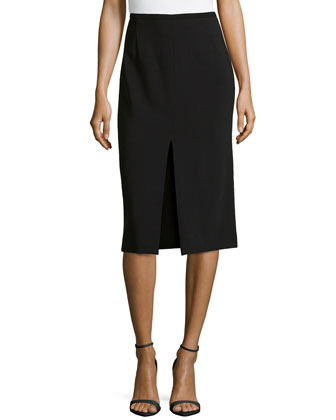 Knee-Length Pencil Skirt w/ Center Slit