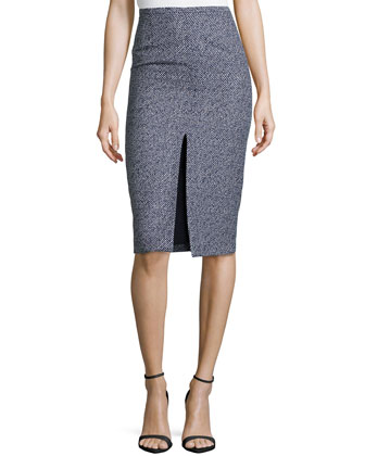 Jacquard Pencil Skirt w/ Center Slit