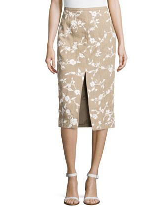 Embroidered Raffia Pencil Skirt w/ Slit