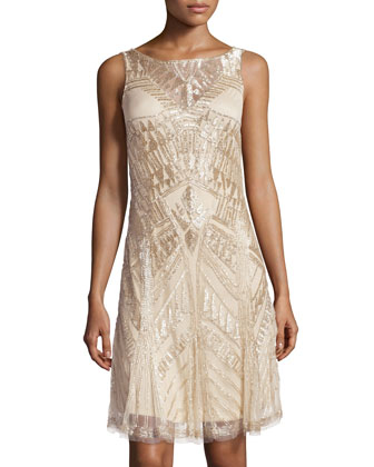 Sleeveless Deco Beaded Cocktail Dress