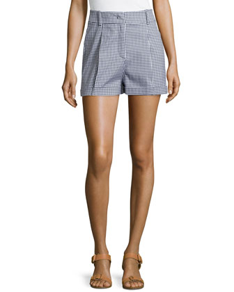 Gingham Pleated Shorts, Indigo