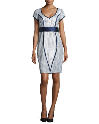 Jacquard Satin-Trim Cocktail Dress
