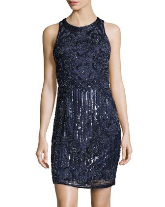 Flower Blossom Beaded Cocktail Dress, Midnight