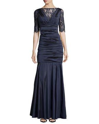Taffeta Gown with Lace Bodice