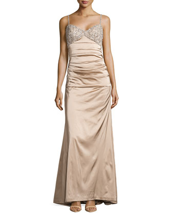 Satin Gown w/Encrusted Bodice