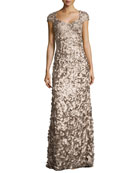 Cap-Sleeve Satin Petal Gown, Taupe