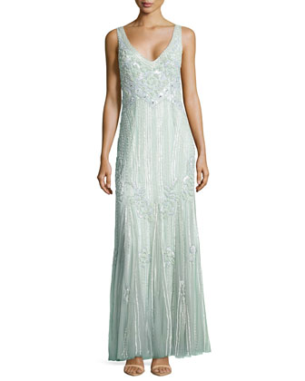 Deco Floral Sequined Gown, Celadon