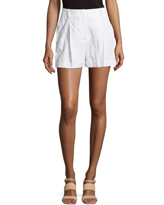 Crushed Pleated Shorts, White